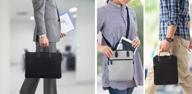 持ち手付きでノートパソコン、タブレットを手軽に持ち出し可能!