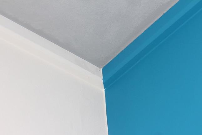 職人による手作業で壁と天井が美しく塗り分けられている