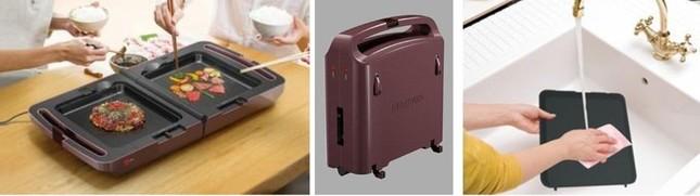 2つの調理面で独立した温度調整を実現、コンパクトなため狭い流し台でも容易に洗浄できる