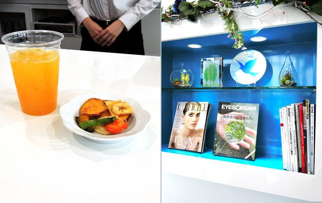 iQOSメンバーに限りドリンクと軽食を無料で提供(個数制限あり)。ファッション系雑誌も置いてある