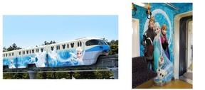 デザインを一新したアナ雪デザインラッピングモノレール運行