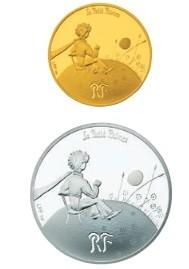 「王子さまと夕日」(上)50ユーロ金貨(下)10ユーロ銀貨