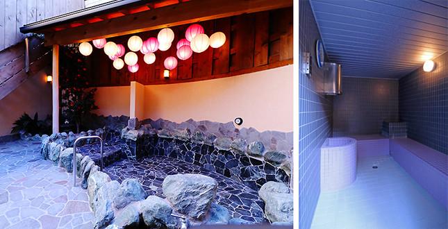 スチーム塩サウナ(写真右)、左は大露天風呂