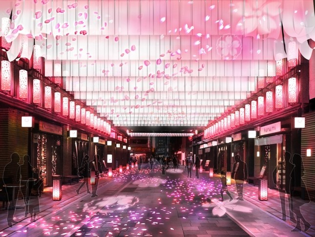 日本桜風街道イメージ(夜)