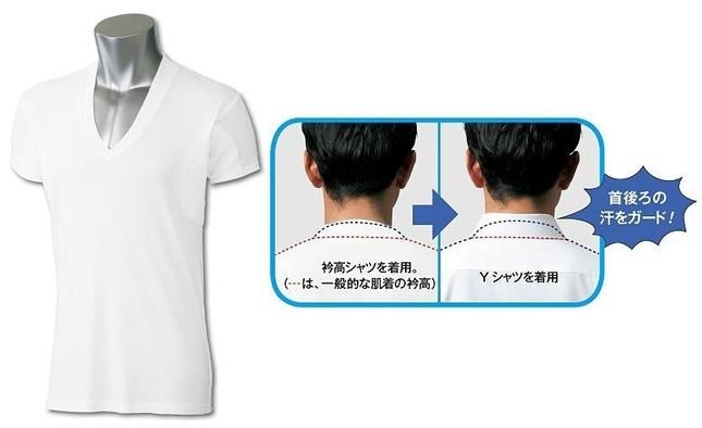 製品画像(左)と衿高効果について(右)