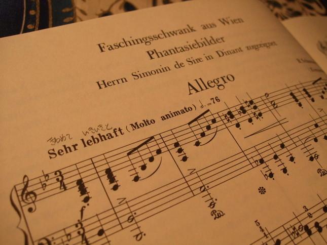 冒頭の楽譜『ウィーンの謝肉祭の騒ぎ』とも訳せる題名が『幻想的絵画』という言葉と共に記されている