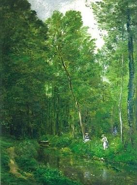 シャルル=フランソワ・ドービニーの 《ヴァルモンドワの下草》の部分