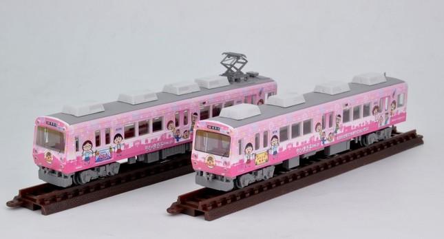 「まる子」の舞台を走るラッピング電車をNゲージに