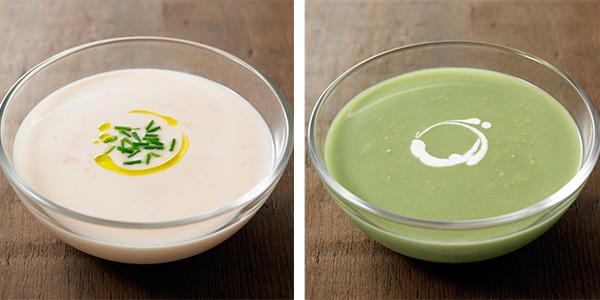 「鱈とチーズのヴィシソワーズ」(左)と「枝豆の冷製グリーンスープ」