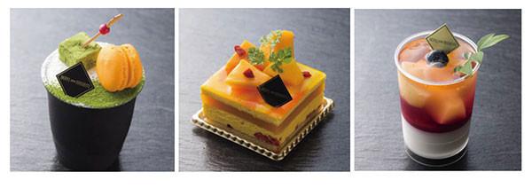 (左から)抹茶のティラミス、マンゴーシブースト、桃のベリーヌ