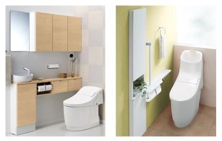 トイレ鉢内の汚物汚れ、水アカ汚れ、キズ汚れ、細菌汚れをすべて防ぐ!(写真はイメージ。左が「LSタイプ」、右が「HSタイプ」)