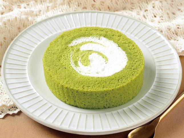 緑と白の渦巻き模様のホイップクリーム