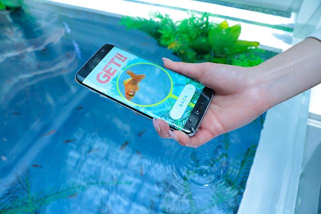 水槽の中にGalaxy S7 edgeを突っ込み、バーチャル金魚をすくえるアプリの体験コーナーも