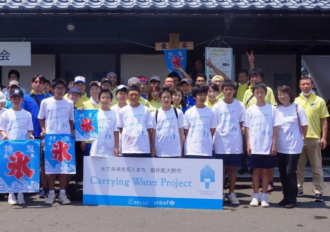 越前大野名水マラソンの運営に参加した地元のボランティアスタッフ