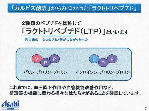 「ラクトトリペプチド(LTP)」は、乳由来の3つのアミノ酸がつながった物質