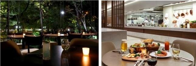 窓外の樹木とキャンドルの光が演出する夏の夜のムードのなか(左)…ライブキッチンからボリューム満点の肉料理などが提供される