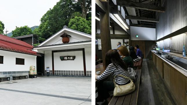 (写真左から)屋根の上にある茶色の玉は酒蔵のシンボルマーク「酒林(さかばやし)」、見学控え室は女性の姿が目につく