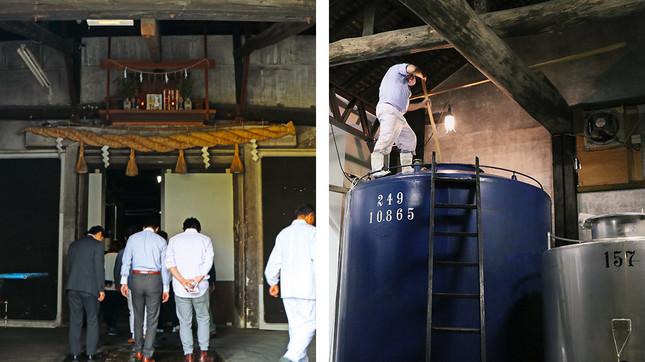 (写真左から)酒蔵に入る扉の上に祭られている神棚、タンクの上でかき混ぜ作業中の社員