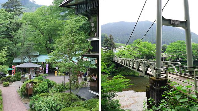 多摩川の渓流を見渡せる「澤乃井園」、対岸を結ぶ吊り橋は雰囲気満点