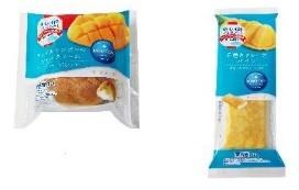 左から「アップルマンゴーのシュークリーム」、「手巻きクレープ・パイン」