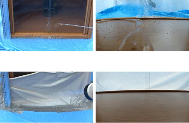 写真上は一般的なビニールシートで、下が水ピタ防水シート。防水効果に明らかな差がある