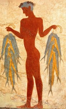 漁夫のフレスコ画 前17世紀 テラ先史博物館蔵 ©The Hellenic Ministry of Culture and Sports- Archaeological Receipts Fund