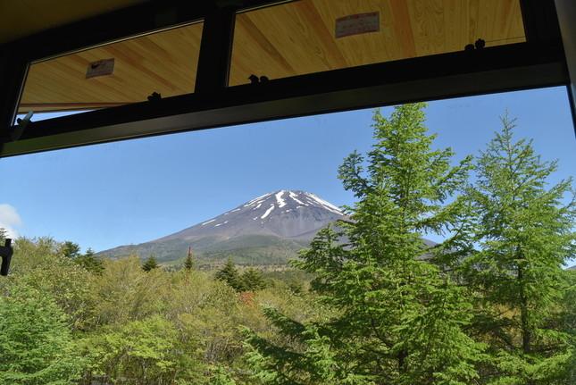 施設の建物からの富士山