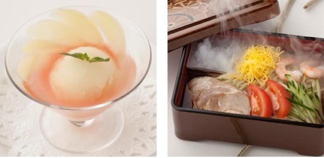 (写真左から)「桃太郎のピーチシャーベット 桃の果実入り」、「浦島太郎の冷やし中華玉手箱」