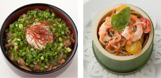 (写真左から)「金太郎のネギがたっぷり塩豚カルビ丼」、「かぐや姫の竹筒入り プチトマトの冷製パスタ」