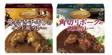 (左)インド風カレー(右)欧風カレー