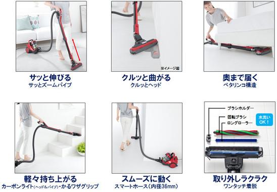 ヘッドとパイプは環境に応じて向きや形を変える。家具などの多い部屋の掃除に効力を発揮しそう