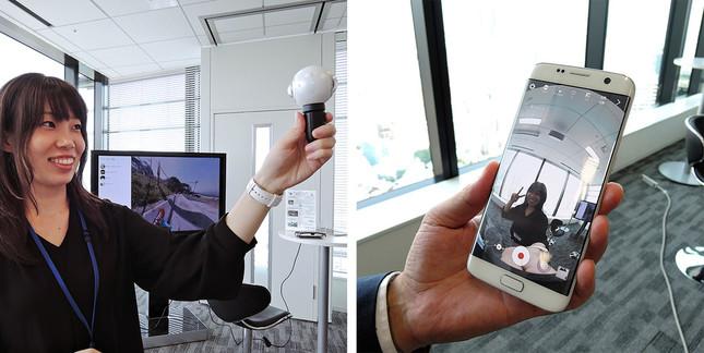 「Galaxy Gear 360」は約1500万画素のカメラを搭載し、連続撮影時間が約140分
