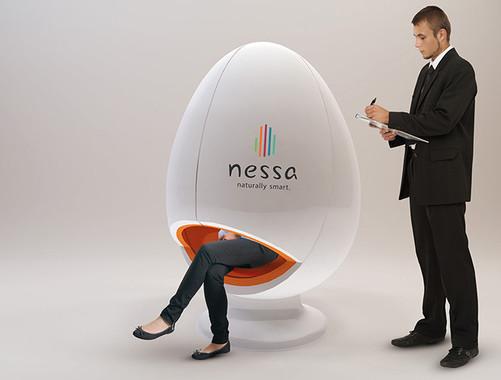世界初リモート聴力測定カプセルチェア「Hearing Egg(ヒアリングエッグ)」