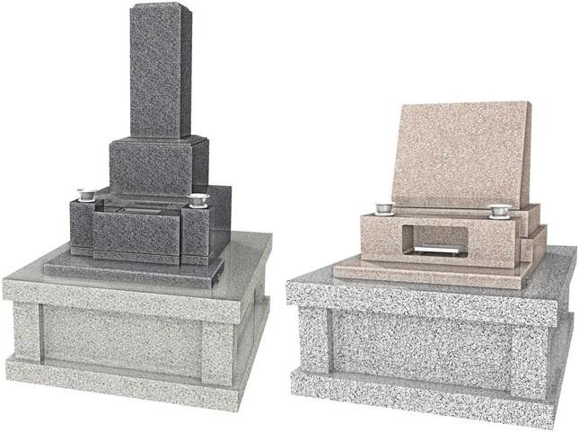 (写真左から)伝統的な和型(ひより)、近年人気の洋型(ドルミール)
