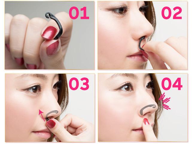 鼻に直接挿入してシャープに見せる