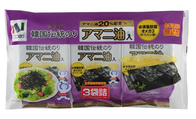 「韓国伝統のりアマニ油入3袋」