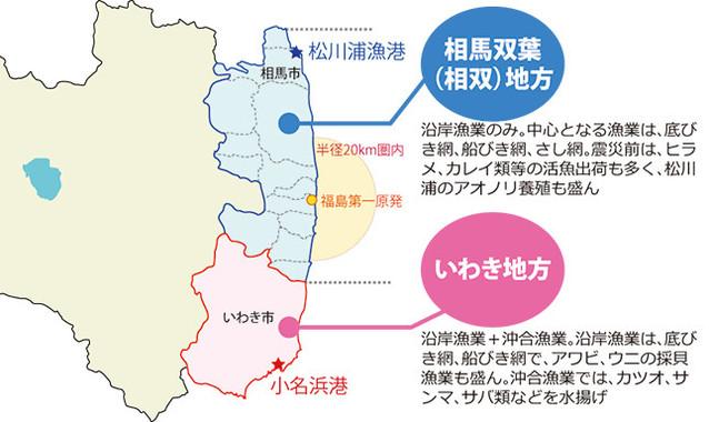 福島県の沿岸部は、「相馬双葉地方」(相双地方)と「いわき地方」の2つに分かれる