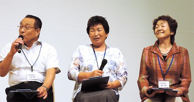 (写真左から)相馬双葉漁業協同組合の立谷寛治さん、同女性部相馬支部の佐藤靖子さん、同女性部鹿島支部の桑折澄子さん