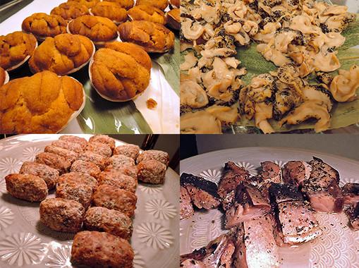 セミナーの試食会でふるまわれた「常磐もの」。(左上から)ウニの貝焼き、ツブの生姜煮、(左下から)イカメンチ、イナダの漬魚