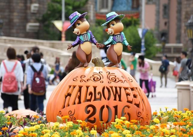 東京ディズニーランドのシンデレラ城前プラザに設置されたハロウィーンのデコレーション