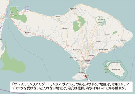 ムリアは島南端のヌサドゥア地区に立地する。風光明媚な自然でセキュリティも万全(Open Street Mapを編集部で加工)