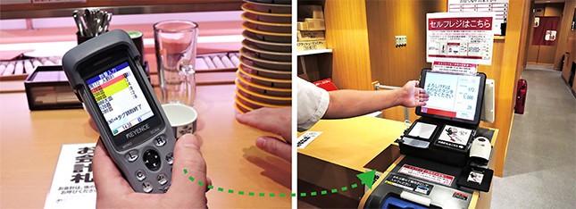 ハンディ端末で座席と皿の情報を読み取り、番号札をセルフレジに持っていく