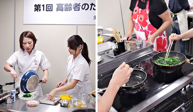 (写真左から)吉野先生の実演、生徒たちによる実習