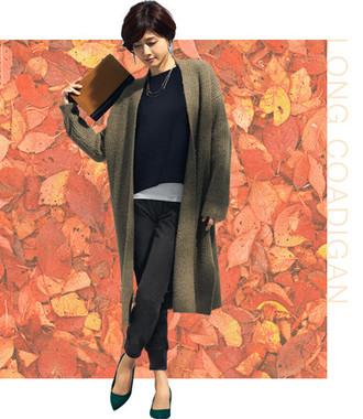 スカートにもパンツにも合うロング丈「ロングコーディガン」