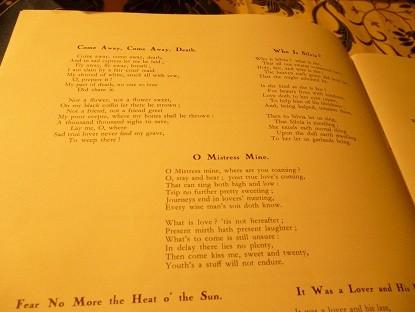 歌詞となったシェイクスピアの詩の数々