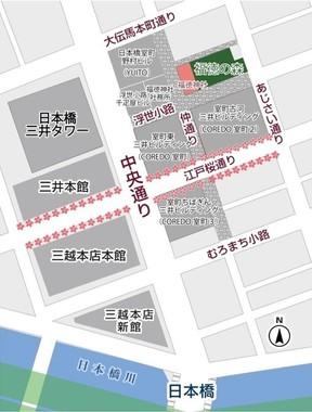 「福徳の森」の周辺地図。東京メトロ三越前駅から徒歩1分の場所にある。