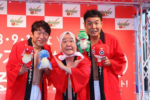 (写真左から)ダチョウ倶楽部の寺門ジモンさん、上島竜兵さん、肥後克広さん