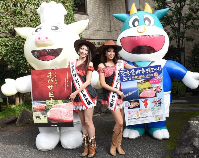 「チバザビーフ」が「推奨銘柄牛」の「東京食肉市場まつり2016」のPRのため、東京食肉市場のキャラクター、トン吉(左)とモウ太(右)とともにJ-CASTニュース編集部を訪れた、千葉県のご当地アイドル「コズミック倶楽部」の大杉麗美さん(中央左)と加藤成実さん(同右)