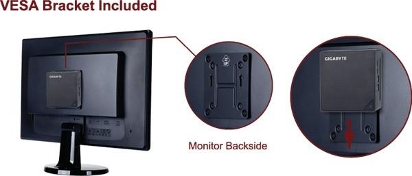 液晶ディスプレイの背面に設置できるVESAマウント対応