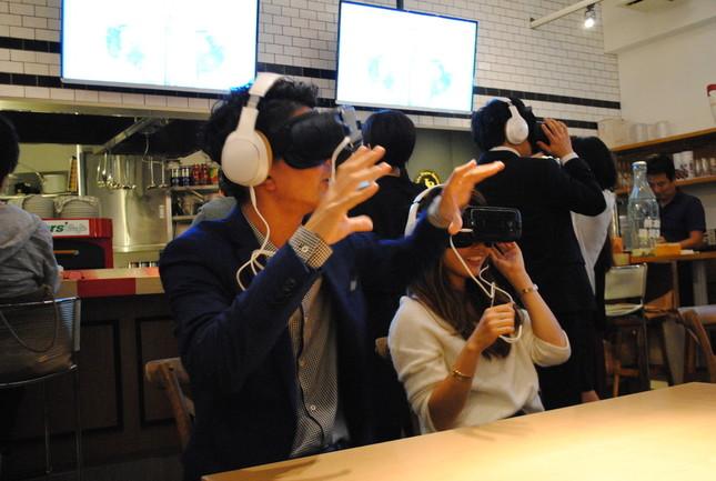 新型「Galaxy Gear VR」を使って「MTV VMJ 2016」を視聴中